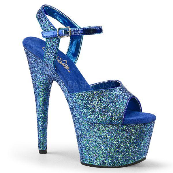 Blaue Glitter Riemchen Sandalette mit Plateau ADORE-710GT